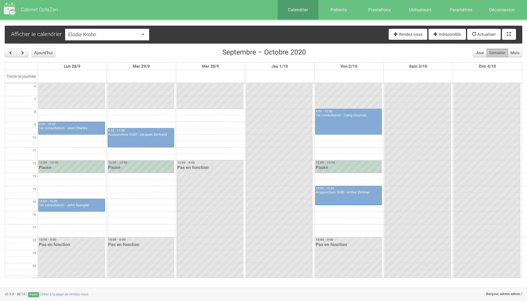 Home page of the online appointment calendar.
